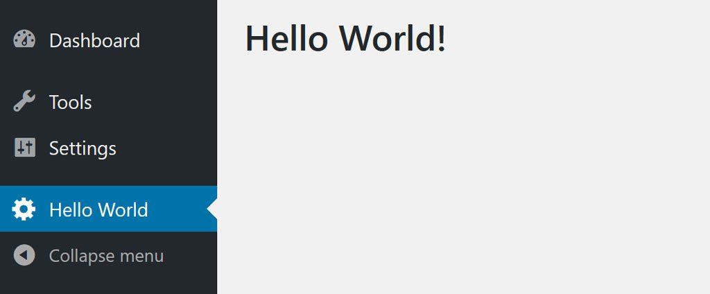 Hello World admin page in admin panel