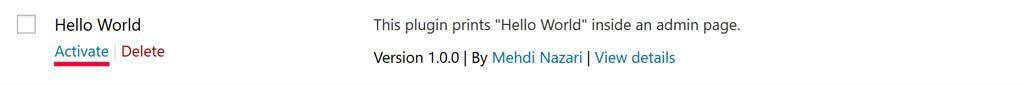 WordPress hello world plugin in plugins list