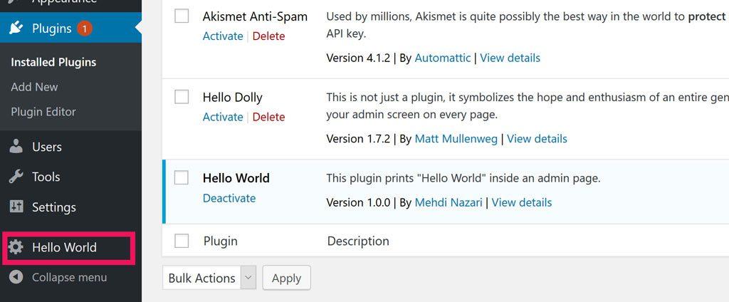 Hello World menu item in admin panel